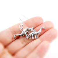 Dinosaur - Antiqued Silver Plated Dinosaur Dangle Earrings - CP067