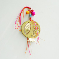 Gold pomegranate sculpture, brass, life size pomegranate sculpture for wall or desk with multicolor threads and beads, good luck pomegranate