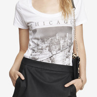 SCOOP NECK GRAPHIC TEE - CHICAGO PHOTO from EXPRESS