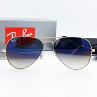 Original Ray-Ban Aviator Metal sunglasses RB3025/3026 Gradual/Gradient Blue glass lens Ready For Women Men