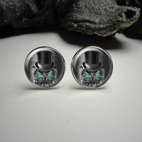 Steampunk Owl Cuff Links and Tie Clip Set 20mm/Dog Tie Clip and Cuff Link Set for Him/Men Gift