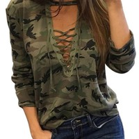 DCCKHQ6 Green Camo Plunge Lace-up Front Long Sleeve T-shirt