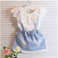 Children summer baby girls sweet clothing sets girls summer clothes set cotton denim dress suit kids dress suit