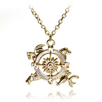 New Design Movie Game Of Thrones Inspired Crest Game Description Compass Pendant Necklace For Men