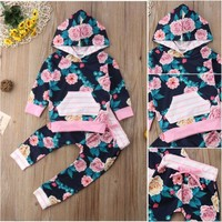 US Floral Newborn Toddler Baby Girl Stripe Hooded Tops Long Pants Outfit Clothes