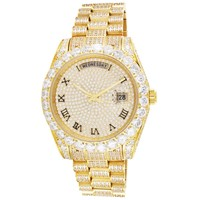 Stainless Steel Bling Solitaire Bezel Roman Dial Luxury Watch