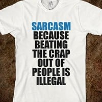 C - Sarcasm (Beating)-Unisex White T-Shirt