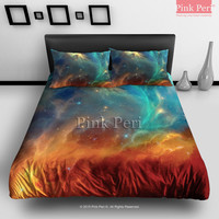 Green and Red Galaxy Nebula Space Bedding sets Home & Living Wedding Gifts Wedding Idea Twin Full Queen King Quilt Cover Duvet Cover Flat Sheet Pillowcase Pillow Cover 037