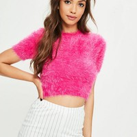 Missguided - Pink Fluffy Knitted T Shirt