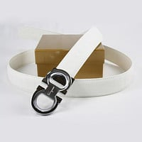 Ferragamo Woman Fashion Smooth Buckle Belt Leather Belt