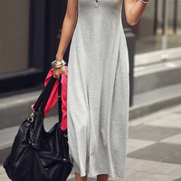 Light Gray Sleeveless Maxi Dress with Buttons