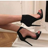 Black High Heel Peep Toe Sandals