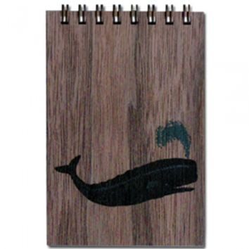 Wood Notepad Whale Small