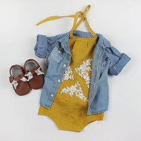 Baby Girl Romper, baby clothes, Baby Romper, Photography prop, Baby Bodysuit, Vintage Romper, Summer, Boho, Birthday outfit, babyshower gift