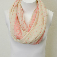 Dot & Lace Scarf -- Pink