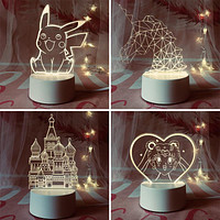 3D Night Light Bedside Lamp Eye Protection Bedroom Creative Birthday Gift For Boys And Girls Dream Sleep Energy Saving