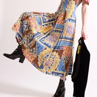 80s Abstract Tie Back Dress / S M