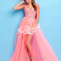 V-Neckline Beaded Accent High Low Tulle Mac Duggal Flash Prom Dress 40329L
