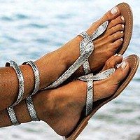 Popular fashion casual flat sandals with snake print plus-size women's shoes
