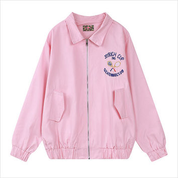 Pink Graphic Back Embroidery Zip Jacket