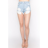 Distressed High Rise Denim Shorts - Light Wash