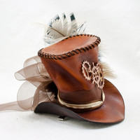 Fascinator - Mini Steampunk Top Hat 10cm tall in brown tones  - In Stock Ready to Ship