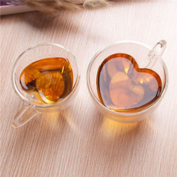 Heart Shaped Heat Resistant Double Wall Layer Clear Glass Tea Cups Mug 240/180ml