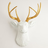 Fake Deer Head - The Alfred - White W/ Gold Antlers Resin Deer Head- Stag Resin White Faux Taxidermy