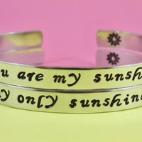 You are my sunshine/ My only sunshine - Hand Stamped Bracelets Set, Forever Love, Mother Daughter Bracelets, Friendship, Script Lowercase