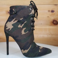 Brianna Camo Print Point Toe High Heel Ankle Boot Shoe