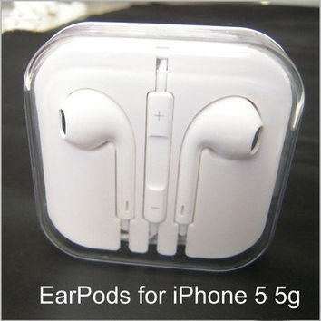High quality earpods earphone for apple iphone 5 5s 5c headset 3.5mm clear bass headphone (Color: White) = 1696744132