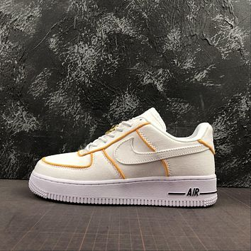 Nike Air Force 1 Af1 Low White/ Yellow Canvas Shoes