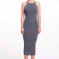 (als) Cage side less knit midi gray dress