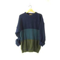 Green Navy Blue Boyfriend 90s Cotton Sweater Oversized Slouchy Pullover Sweater Unisex Preppy Crewneck Vintage size XL Tall