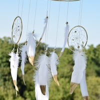 Baby Boy Girl Dream catcher Mobile, White Feathers  Baby Dreamcatcher Mobile, Bohemian Nursery Decor