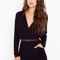 Dolman Wrap Dress - Black in Clothes Dresses at Nasty Gal