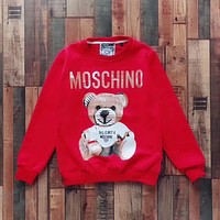 '' Moschino '' bear print long sleeve Red sweater top H-spring