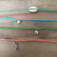 make a wish bracelet or anklet, friendship bracelet, choose from a star, cowrie shell, turtle, seahorse or feather
