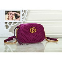 Gucci Trending Women Stylish Velvet Leather Metal Chain Shoulder Bag Crossbody Satchel Purple