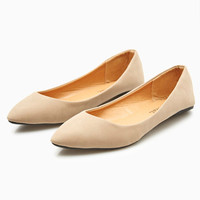 Faux Leather Pointed Toe Skimmer Flats | Wet Seal