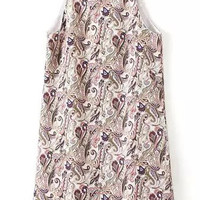 Multi Colored Sleeveless Paisley Print A-Line Dress