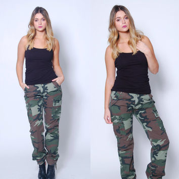 Vintage 90s CAMOUFLAGE Pants Military Army CARGO Pants Grunge Casual Fit Camo Pants