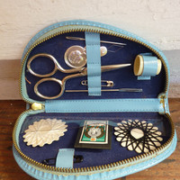Vintage Sewing Kit - 1950s Leather sewing Kit - Vintage Gift Idea