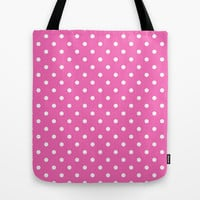 cute, modern, trendy, girly  pink and white polka dots graphic pattern. Tote Bag by PatternWorld