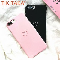 Simple Love Heart Case For iphone 8 7 6 6s Plus Fitted Cases Ultra thin Frosted Matte Hard PC Back Cover Cute Couple Phone Cases