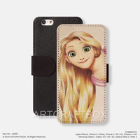 Punk Princess Tangled iPhone Samsung Galaxy leather wallet case cover 805