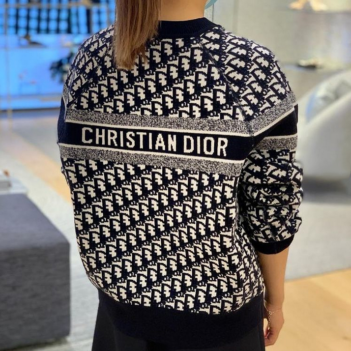 Image of Christian Dior new product D classic letter presbyopia knitted sweater loose men's and women's sweater