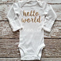 Baby Girl Take Home Outfit Newborn Baby Girl Hello World Onesuit Gold Glitter