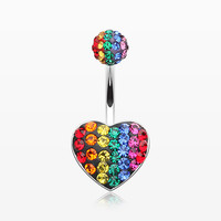 Rainbow Heart Multi-Gem Sparkle Belly Button Ring