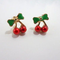 Cherry Earrings Tiny Stud Earrings Small Christmas Gift Red Fruit Cherries Gold Stud Adult Small Children Child Girl Earrings Jewelry